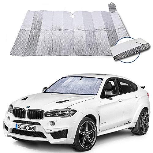 Dobee Auto Sonnenschutz Frontscheibe, Aluminiumfolie Windschutzscheibe Sonnenblende UV-Schutz AutozubehörFaltbare Einfache Lagerung, 130 * 70 cm für Mittelklassewagen