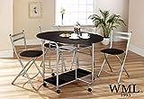 Smart Esstisch mit 4 Stühlen, Blatt-Design, Schwarz/silberfarben