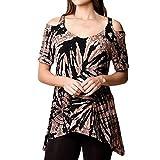 SEWORLD Bluse Oberteil Damen Sommerkleid V-Ausschnitt Sommer Täglich Beiläufige Lose Große Größe Plaid Tunika Hemd Bluse Tops Stil Tops T-Shirt Pullover Tops Shirt(Khaki,EU-40/CN-XL)