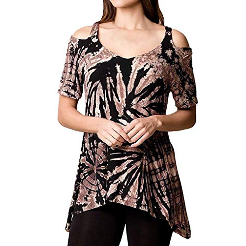 XNBZW Tops Womens Cold Shoulder Shirts Short Sleeve Casual Floral Tunic Tops Summer Off Shoulder Irregular Casual Tie Dyeing Print Blouse Shirt Orange Silk Bow Tie