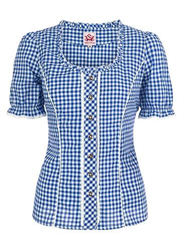 Spieth & Wensky - Karierte Damen Trachten Bluse in Verschiedenen Farben, Petra (009791-0115), Größe:40, Farbe:Blau/Weiß (2337)