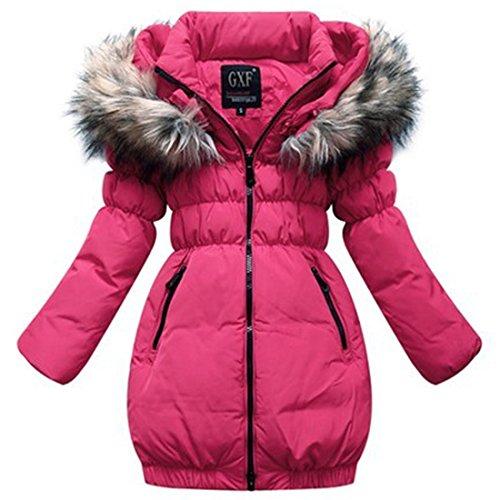 (Kinder-Jacke mit Kapuze, lang und dick Gr. XXXL, rosarot)