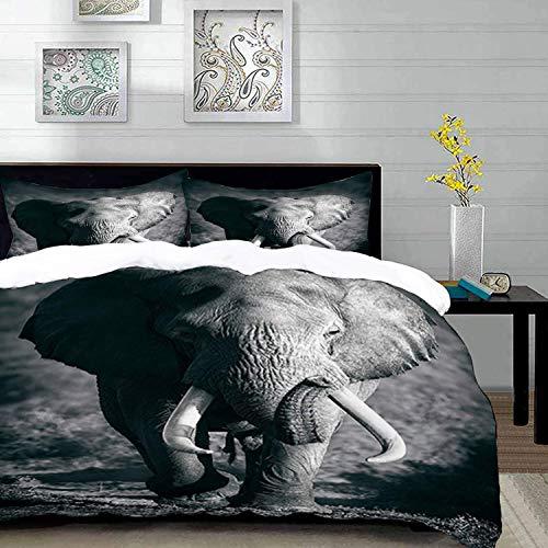 Yaoni Bedding Juego de Funda de Edredón - Elefantes Majestuoso Elefante Bull...