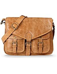 Qawach Beige Color Unisex Leather Sling Bag
