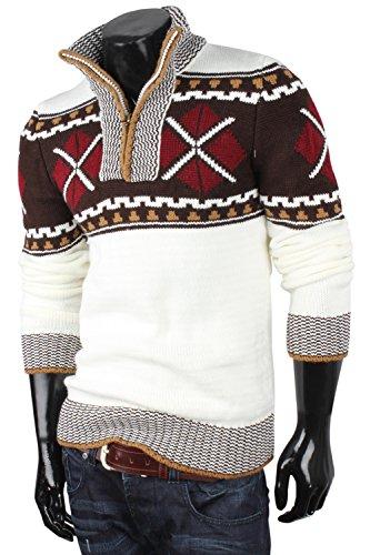 TAZZIO pull en tricot pour homme cardigan pull veste homme Gris - Stein