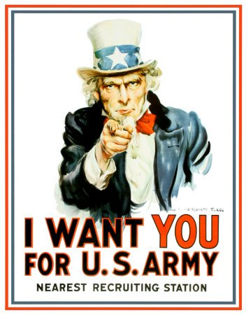 Plaque métal - Uncle Sam US Army I Want You - Made in USA