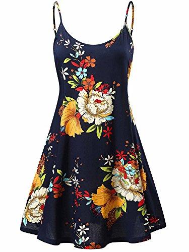 MSBASIC Damen Sommer Stand Swing Ärmelloses, Verstellbares Riemchen Midi Kleid Blumen Buntfarben Unifarben-X-Large