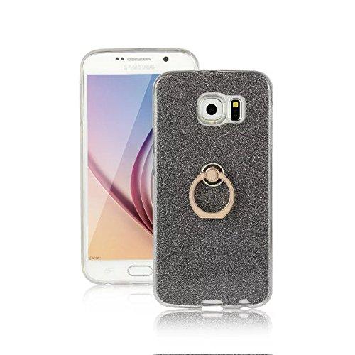 Luxus Bling Sparkle Style Case, Soft TPU [Silikon] Flexible Glitter Rückseitige Abdeckung mit Fingerring Stand für Samsung Galaxy S6 ( Color : Pink ) Black