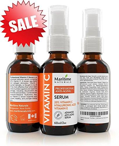 20% Vitamin C Serum in klinischer Stärke + Aminosäurekomplexe, Tagespflege Anti Aging Serum aus Kanada, hyaluronsäure serum mit vitamin E