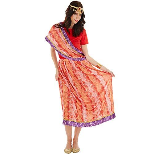 Frauenkostüm Inderin Sari | bequemes Shirt | schöner Rock im Chiffonlook | inkl. Kopfschmuck (XL | no. 301018)