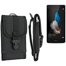 bolsa del cinturón / funda para Huawei P8 Lite, negro | caja del teléfono cubierta protectora bolso - K-S-Trade (TM)