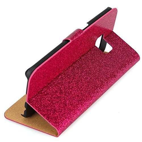 Fishberg Étui à rabat magnétique en cuir PU avec support pour Galaxy S6Edge Design luxueux et brillant Emplacements pour cartes Rose Rouge