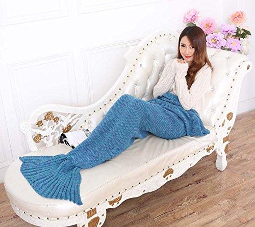 Zmsj-lavorati a maglia Handmade Mermaid Tail Coperta, Sofa Quilt Soggiorno Coperta Mermaid per adulti e bambini 180cmX90cm (Blue (Belle Kostüme Blue)