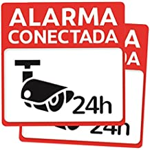Pack 2 carteles disuasorios rígidos para pegar o sujetar alarma conectada 24 horas