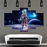 ZEMER Leinwanddrucke 5 Stück Wandkunst Super Saiyajin Poster Dragon Ball Anime Bilder Für Hauptdekor-Dekoration-Geschenk-stück (Kein Rahmen),I