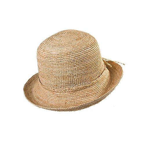 Lwtym cappello cappello estivo in paglia da donna daqi beach visiera pieghevole copri viso con mantella fatta a mano (colore : a)