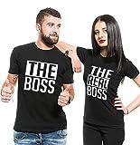 Couple Shirts Pärchen T-Shirts für Zwei Paar Shirts Set Partnerlook T Shirt Baumwolle Schwarz 2 Stücke (Schwarz, Men-M+Women-S)