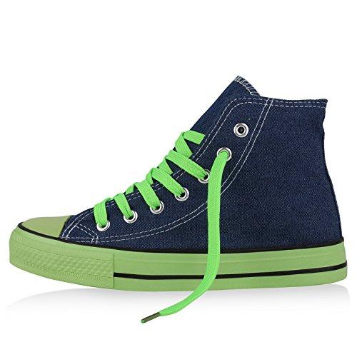 Sportliche Damen Sneakers |Stoffschuhe Camouflage Schnürer | Sneaker High Neon | Sportschuhe Denim Neongrün Grün