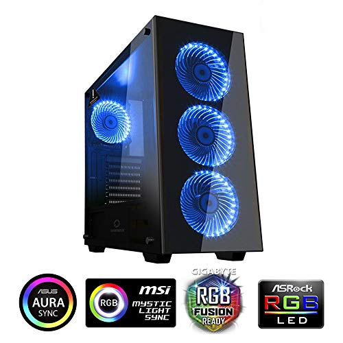GAMEMAX Draco New RGB Black Case ATX Middle Tower PC Desktop Gaming 0.6MM SPCC Frontal Tempered Glass 2*USB3.0 4*Fan 15 LED RGB Laterale Glas (BxHxT: 203x450x435 mm) -