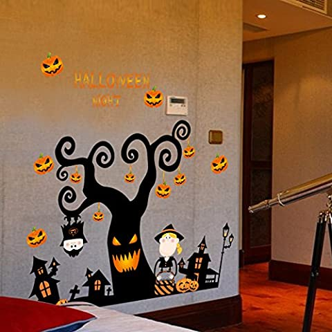 HCCY Mur de papier Halloween Ghost bar ktv Festival centre commercial École de décorations autocollants autocollant de fenêtre 105*72cm Glass
