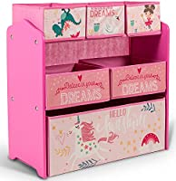 Home Canvas Sunshine Unicorn Design Kids' Multi-Bin Toy Organizer with Storage Bins, Pink