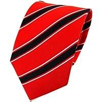 TigerTie Cravatta in seta - rosso fluorescente nero bianco striato - Cravatta in seta