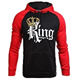 Stephaee Couple Hoodies King Queen Matching Couple Crown Pullover Hoodie Sweatshirts (L, Red (Men))