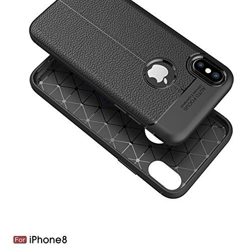 "MOONCASE iPhone X Hülle, [Litchi Pattern] Fallschutz Anti-Scratch Schutzhülle Resilient TPU Armor Defender Tasche Case für iPhone X 5.8"" Navy Grau"