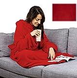 XXL Blanket Fleecedecke Ärmeldecke Lounge-Decke Kuscheldecke mit Ärmeln (rot)