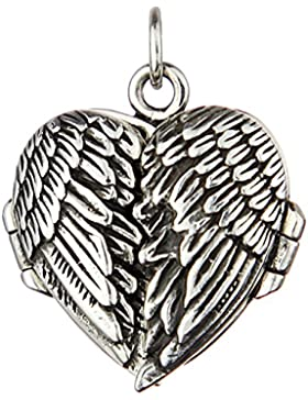Herz Medaillon Anhänger zum Öffnen mit Flügel 925 Sterling Silber für Damen und Mädchen