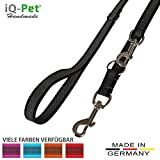 iQ-Pet Hundeleine Made in Germany | 3-Fach Verstellbar (2m - 1,20m) | Nylon, gummiert, in Signal-Farbe | Sehr Langlebig und Robust | Hunde-Leine, Führ-Leine, Trainings-Leine, Doppel-Leine (Schwarz)