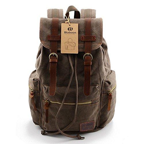 BLUBOON Tela Zaini Vintage Zaino Uomo Donna Unisex Canvas Backpack Rucksack (Army...