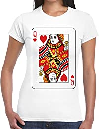 Velocitee Ladies T-Shirt Queen Of hearts Playing Card V188
