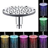 Wokee 16 * 16 * 6,5 cm Luxus RGB Regendusche Buntes Haupthauptbadezimmer 7 Farben, die LED-Duschhahn-Wasser-Glühen-Licht ändern Einbau-Duschkopf Deckenbrause Quadrat Überkopfbrause