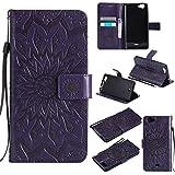 COZY HUT For Wiko Slide Case [Purple], PU Leather Sunflower