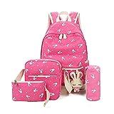 Zaino Scuola Ragazze Adolescenti Canvas Backpack Zaino Spalla Viaggio Daypacks 4pcs(Rosa)