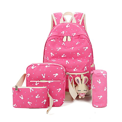 Imagen de  escolares  niños niñas adolescentes  escolar + bolsa de hombro + billetera + bolso de pluma rosado