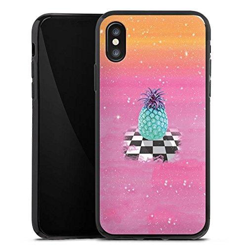 Apple iPhone X Silikon Hülle Case Schutzhülle Great Pineapple Ananas Galaxie Silikon Case schwarz