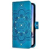 Uposao Kompatibel mit Huawei P Smart Z Handyhülle Mandala Blumen Muster Diamant Bling Glitzer Strass Schutzhülle Flip Wallet Bookstyle Klapphülle Leder Hülle Magnet Kartenfächer,Blau