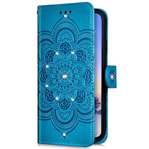 Uposao Kompatibel mit Samsung Galaxy Note 10 Handyhülle Mandala Blumen Muster Diamant Bling Glitzer Strass Schutzhülle Flip Wallet Bookstyle Klapphülle Leder Hülle Magnet Kartenfächer,Blau