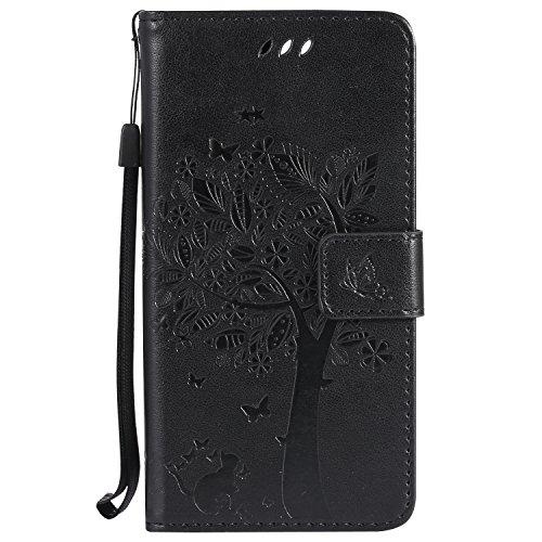 Nancen Wallet Case Tasche Hülle für Huawei Honor 8 (5,2 Zoll) Flip Schutzhülle Zubehör Lederhülle mit Silikon Back Cover PU Leder Handytasche im Bookstyle Stand Funktion , Schmetterling Schnalle Magnet (Cheshire Brillen Katze)