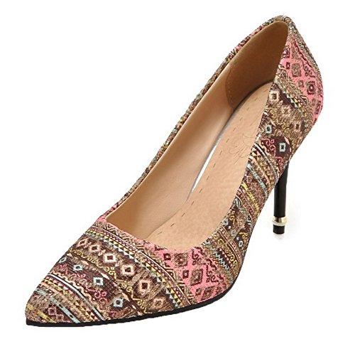 3c571228 Material Tacón Floral Mujer Agoolar Alto Claro Color De Rosa Tira Zapatos  Mezclados De De UAWW86z ...