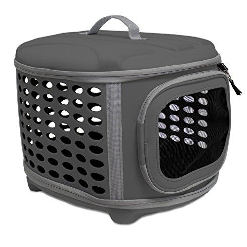 Transportin plegable Yatek para perros y gatos lavable recomendado para mascotas de hasta 6kg de color gris oscuro