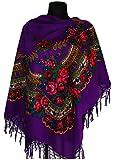 Große Stilvolles Schal-Tuch mit schönem,slawische Folklore Muster Winter 2016 Violett