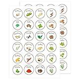 Wandkings Gewürzetiketten Ø 4 cm - 48 Stück kreisförmige Gewürzaufkleber - Etiketten/Sticker / Aufkleber für Gewürze selbstklebend auf 2 DIN A4 Bögen - Kreise