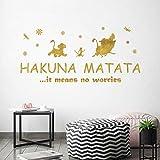 ufengke Stickers Muraux Citations Hakuna Matata Autocollants Texte Motivation en Or pour Chambre Enfants Bébé Pépinière Salon Décoration Murale
