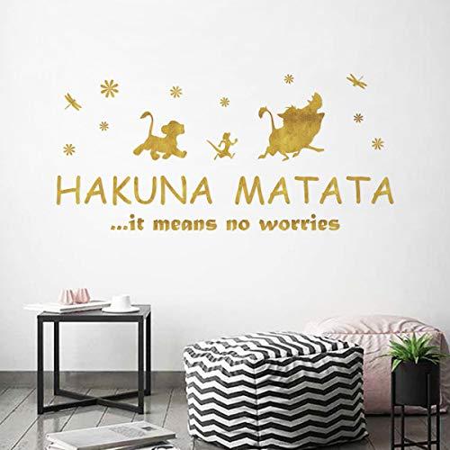 ufengke Wandtattoo Sprüche Hakuna Matata Golden Wandaufkleber Wandsticker Buchstaben Motivation für Kinderzimmer Schlafzimmer Wohnzimmer