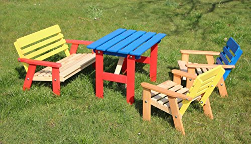 Kinder Sitzgarnitur 4-tlg. aus Holz, 2 Stühle, 1 Bank, 1 Tisch, farblich vorbehandelt