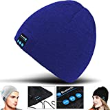 2Ticks Blau Kopfhörer weiche warme Strickmütze drahtloser Bluetooth Smart Cap Headset-Lautsprecher Mic Unisex Winter Fashion Spy BLU Studio J8 LTE