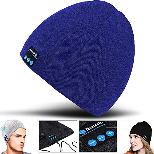 T-mobile Bluetooth Headset (2Ticks Blau Kopfhörer weiche warme Strickmütze drahtloser Bluetooth Smart Cap Headset-Lautsprecher Mic Unisex Winter Fashion Spy T-Mobile Revvl Plus)